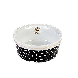 Comedouro Porcelana para Cachorro Woof Classic Preto Granulado
