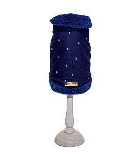 Casaco capa pêlo Azul Marinho âncoras