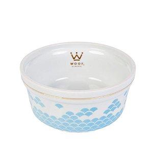 Comedouro Porcelana para Cachorro Woof Classic Deep Escamas Azul Bebê