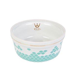 Comedouro Porcelana para Cachorro Woof Classic Deep Escamas Tiffany