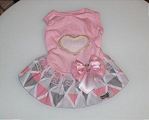 Vestido para Cachorro DuDog Vest Coração e Pérolas Rosa