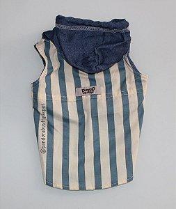 Colete com capuz DuDog Vest Listrado Jeans