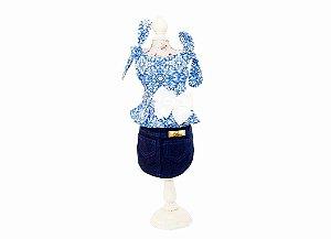 Vestido Saia Jeans para Cachorro Azul e Pérolas