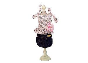 Vestido Saia Jeans para Cachorro Estampa Floral