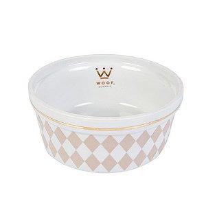 Comedouro Porcelana para Cachorro Woof Classic Losango Bege