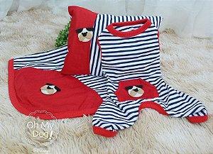 Pijama Azul e vermelho - enxoval