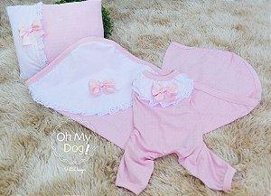 Pijama Rosa e pérolas - enxoval