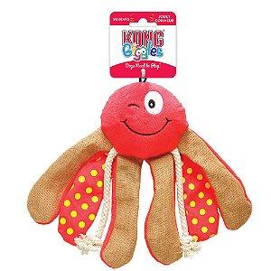 Brinquedo Kong Giggles Octopus Medio Vermelho para Cães