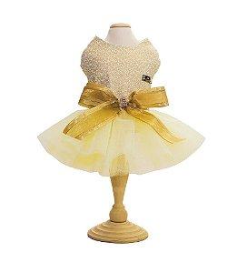 Vestido para Cachorro Dourado Natal e Ano Novo