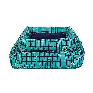 Cama para Cachorro Woof Classic PicNic Azul Marinho e Verde