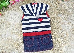 Vestido para Cachorro Oh My Dog Plush e Jeans Marinho e Vermelho