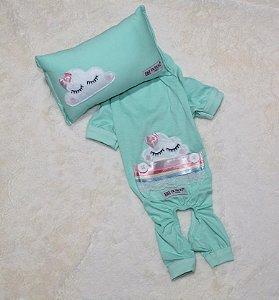 Pijama + travesseiro DuDog Vest Nuvem Acqua Lacinho