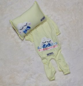 Pijama + travesseiro DuDog Vest Nuvem Amarelo Gravata
