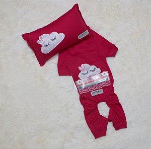 Pijama + travesseiro DuDog Vest Nuvem Pink Lacinho
