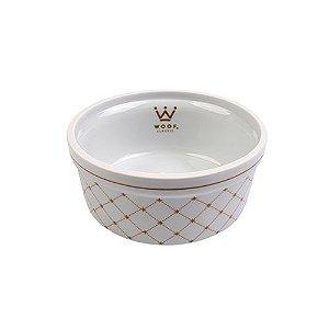 Comedouro em Porcelana para Cachorro Woof Classic Matelassê Bege