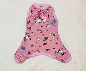 Pijama para Cachorro Malloo Unicórnio Rosa