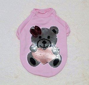 Moletom para Cachorro Malloo Ursinho Paetê Rosa Bebê