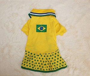 Vestido para cachorro Copa do Mundo Brasil