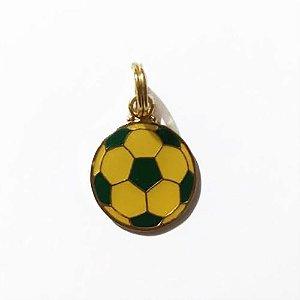 Pingente de Identificação para Cachorro Woof Classic Bola de Futebol Amarelo e Verde