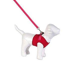 Guia e Peitoral Colete para Cachorro Brim Matelassê Vermelho e Pink Woof Classic