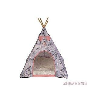 Cabana para Cachorro Apache Woof Classic Empire Cinza e Rosa