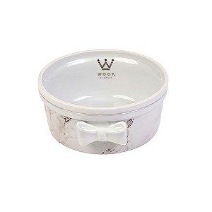Comedouro Porcelana para Cachorro Woof Classic Empire Mármore Preto e Branco com Prata Laço