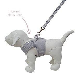 Guia e Peitoral Colete para Cachorro Brim e Plush Woof Classic Cinza