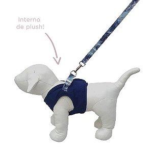 Guia e Peitoral Colete para Cachorro Brim e Plush Woof Classic Azul Marinho