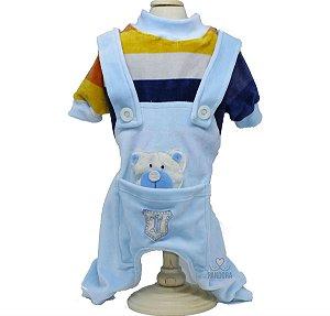 Macacão em Plush para Cachorro Maristela Moda Pet Tip Top Azul
