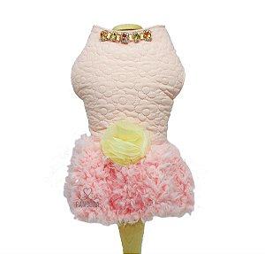 Vestido para Cachorro Matelassê Rosa Maristela Moda Pet