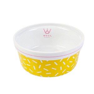 Comedouro Pet em Porcelana Woof Classic Ice Land Granulado Amarelo e Rosa
