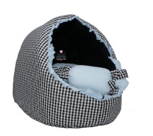 Cabana para Cachorro Pet Cherie Xadrez Azul e Preto