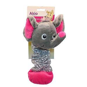 Brinquedo Akio Pelúcia com Squeaker Elefante com Corpo Elástico