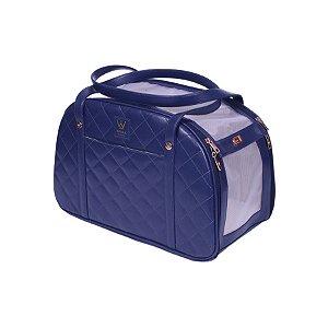 Bolsa de Transporte para Cachorro e Gato Woof Classic Matelassê Azul Marinho