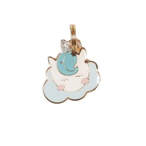 Pingente de Identificação para Cachorro Woof Classic Unicórnio Nuvem Azul