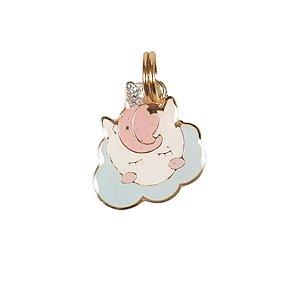 Pingente de Identificação para Cachorro Woof Classic Unicórnio Nuvem Rosa