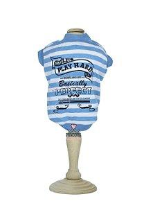 T-Shirt para Cachorro e Gato Maristela Moda Pet Play Hard Azul