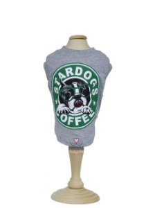 T-Shirt Star Dogs Coffee Malloo Moda Pet Cinza