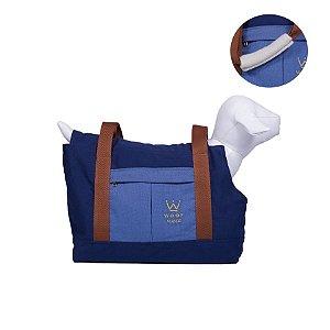 Bolsa de Passeio para Cachorro Woof Classic Enchanté Azul Marinho