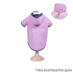 Capa de Chuva para Cachorro Dupla Face Woof Classic Rosa e Lilás