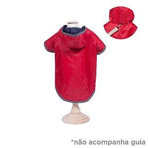 Capa de Chuva para Cachorro Dupla Face Woof Classic Azul Marinho e Vermelho