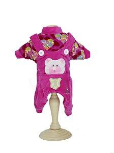 Macacão em Plush para Cachorro Maristela Moda Pet Tip Top Pink Heart