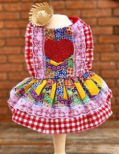 Vestido Festa Junina para Cachorro Malloo Vermelho