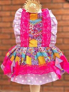 Vestido Festa Junina para Cachorro Malloo Pink e Lilás