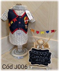 Camisa Festa Junina para Cachorro DuDog Cinza