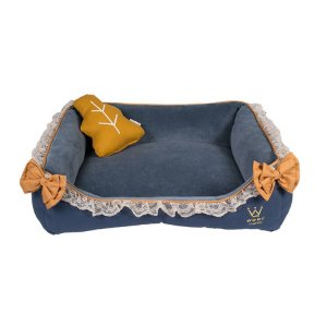 Cama Retangular para Cachorro Woof Classic Forest Plush Azul Marinho