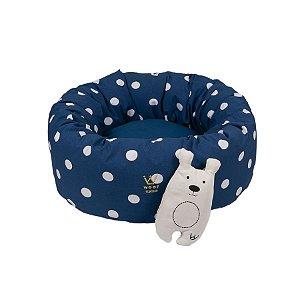 Cama para Cachorro Woof Classic Fofinha Laço Poa Sarja Linho Azul