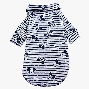 Pijama Camisa para Cachorro e Gato Mickey Listra Azul Marinho