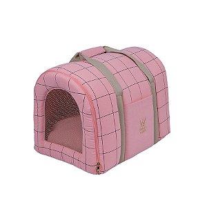 Bolsa de Transporte Pet Woof Classic Sheep Grid Rosa
