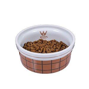 Comedouro Para Cachorro em Porcelana Sheep Grid Caramelo